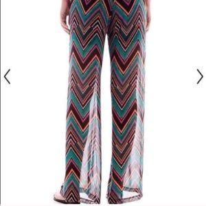 Bisou Bisou Sheer Palazzo Pants With Shorts